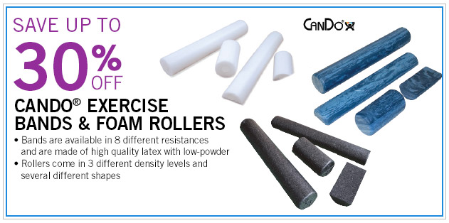 Save up to 30% off CanDo Exercise Bands and Foam Rollers
