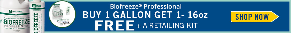 Buy 1 Gallon of Biofreeze Professional get 16oz + Retailing Kit for FREE