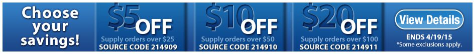 $5 off supply orders over $25!