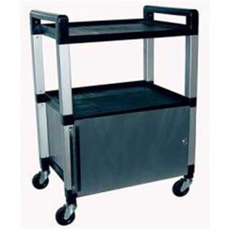 Poly 3 Shelf Cart With Locking Stainless Cabinet