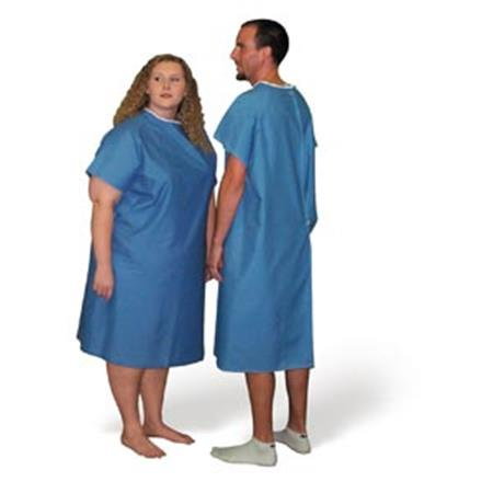 Patient Gown, Xx-Large Blue Broadcloth