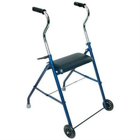Steel Walker With Wheels And Seat, Royal Blue