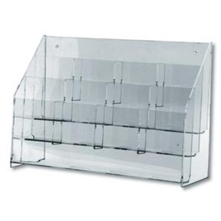 "Clear Lucite Multi-Pocket Rack 12 Pkts Holds 4""X9"""