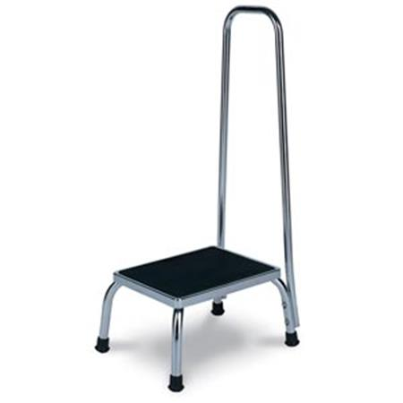 Winco Chrome Steel Footstool With Hand Rail