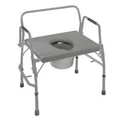 Extra-Wide Heavy Duty Drop-Arm Steel Commode