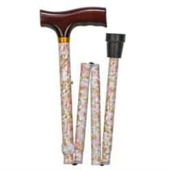 Folding Aluminum Cane with Derby Handle, Beige Floral