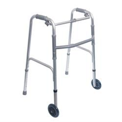 "Single Release Aluminum Folding Walker W/3"" Wheels"