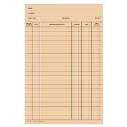 Stock Fold-A-Log Ledger Card Blank, 100/Pkg