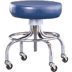 "Mobile Stool With Footring, 18 1/2""-25 1/4""H"