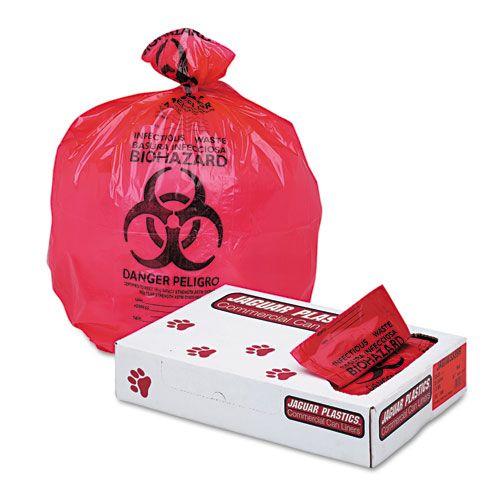 Jaguar Plastics® HealthCare Biohazard Trash Can Liners - 33 Gallon Red Bags, 150/Pack