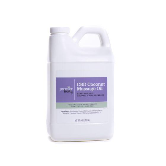 Premier Body CBD Coconut Massage Oil with Lemongrass – ½ Gallon, Full Spectrum