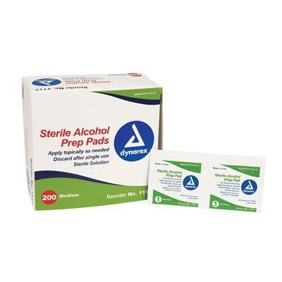 Dynarex Sterile Alcohol Pads Medium Box of 200 (alcohol wipes)