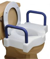Extra Wide Tall-Ette Raised Toilet Seat - Toilet Seat Riser with Foam Armrests